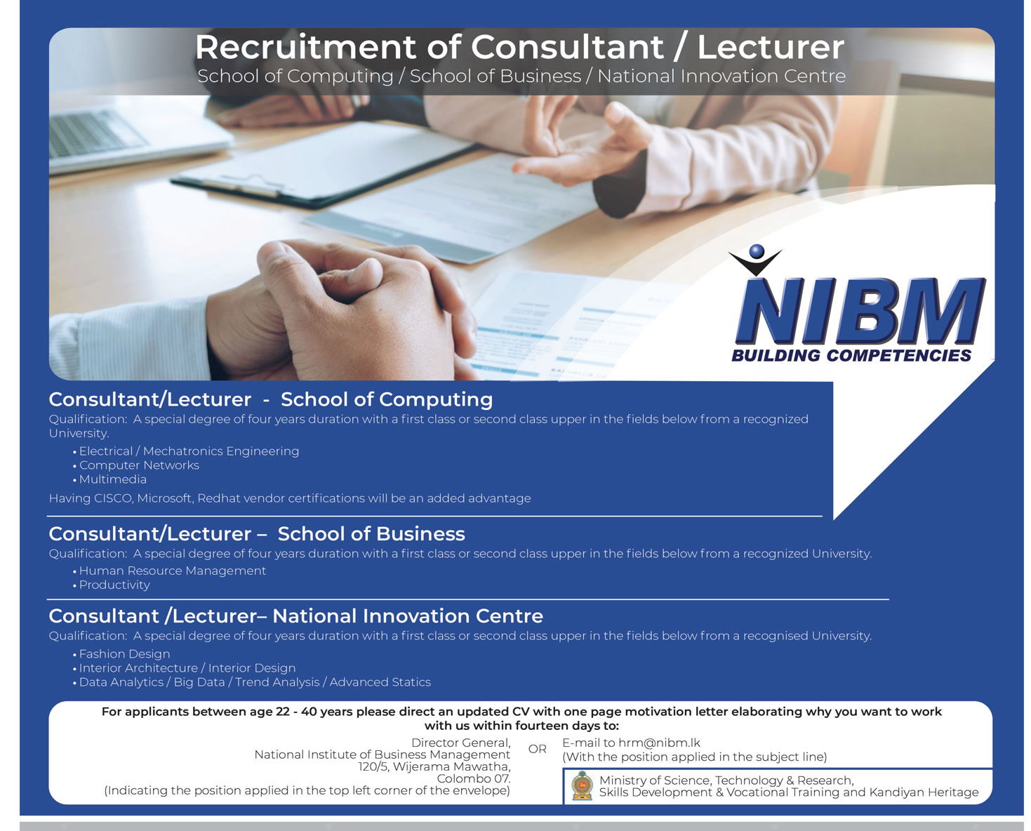 Consultant Lecturer National Institute Of Business Management Nibm
